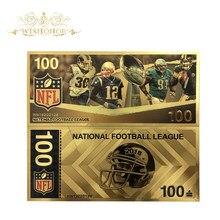1 шт. новые продукты для Цвет Америка NFL шнур для банкнот 100 долларов банкнот в центре сообщений в течение 24k Gold Бумага деньги для коллекции