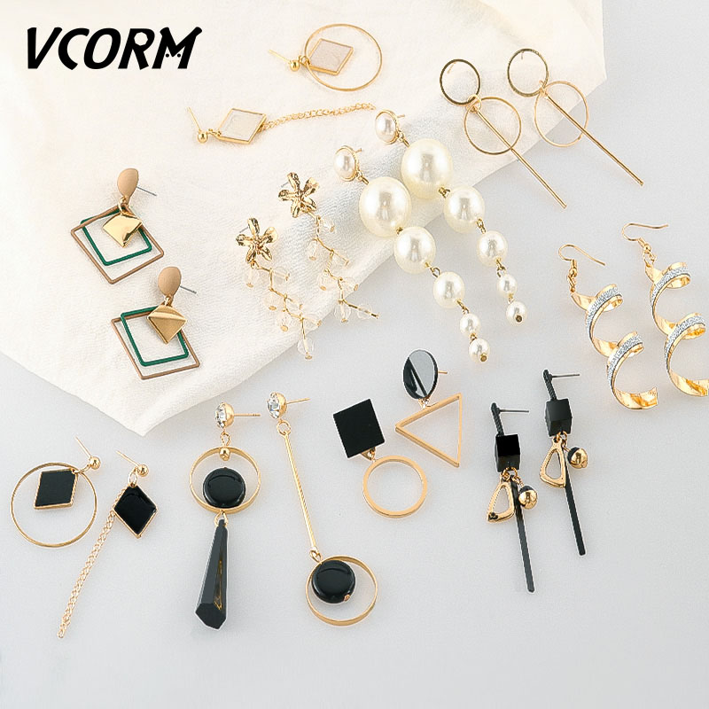 Earrings Vcorm Fashion Korean Vintage Geometric Earrings For Women Metal Gold/silver Tassel Drop Dangle Earring 2019 Accessories Jewelry