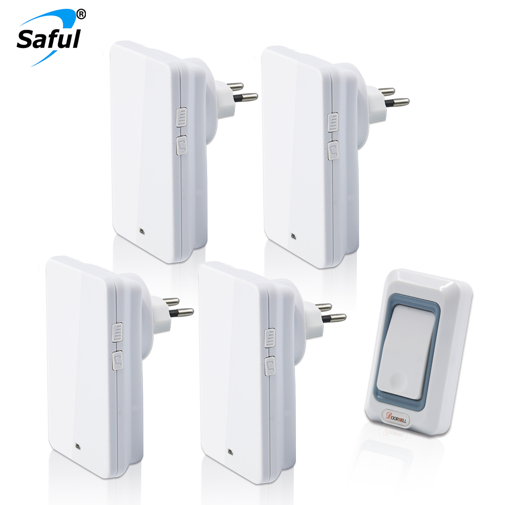 Saful Wireless Doorbell Button Doorbell 28 Ring Bell with1 Outdoor Transmitters + 4 Indoor Doorbells Receiver EU/US/UK/AU PlugSaful Wireless Doorbell Button Doorbell 28 Ring Bell with1 Outdoor Transmitters + 4 Indoor Doorbells Receiver EU/US/UK/AU Plug