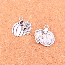 55Pcs Antique Silver Plated pumpkin leaf fall thanksgiving Charms Diy Handmade Jewelry Findings Accessories 21*18mm(China)