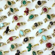 60 шт новое Винтажное кольцо с горным хрусталем старое золото