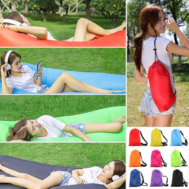 210*70 cm/240*70 cm Schnelle Aufblasbare Faul tasche Luft Schlafsack Camping Tragbare Luft Banana sofa Strand Bett Air Nylon Sofa Laybag