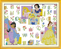 The Fairy Tale Princess Alphabet Counted Printed On Fabric 14CT 11CT Cross Stitch Kits Embroidery Needlework