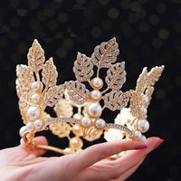 TANGTANG Golden Leaf Bride Crown Hair Pins Wedding Headdress Birthday Party Jewelry Prom Tiaras For Girl Beaded Jewelry XL092