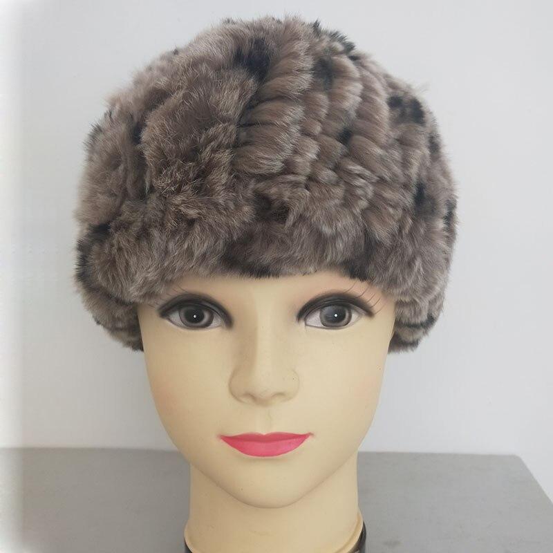 Women Real Rabbit Fur Hat Knitted Elastic Genuine Fur Caps Fashion Winter Wholesale Hats Ladies Warm Soft Fur Beanie Caps