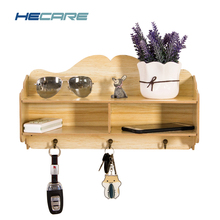 HECARE Wall-hung Type Sundries Wood Storage Box Key Hanging Hook Phone Racks Shelf Rack Wall Hanger Wooden Organizer