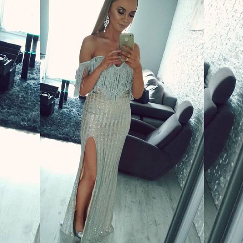 Glittered Slit Side Sexy Maxi Dress Tassel Off The Shoulder Sleeveless Patchwork Hollow Out Evening Party