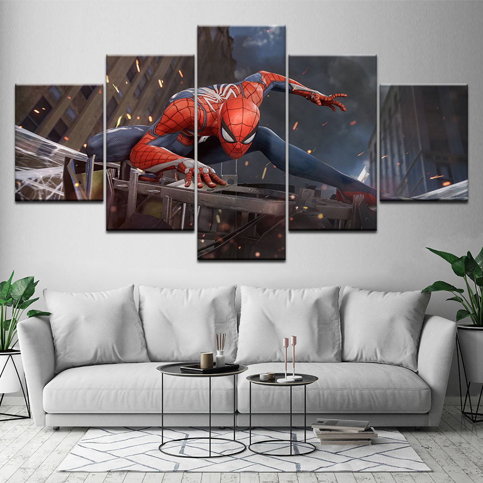 5 Pcs Wall Art Spiderman HD Picture Home Decoration Living Room Canvas Posters Print Painting Wall Picture Printing On Canvas image