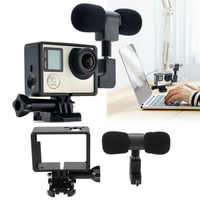 for Gopro Accessories Pro Mini Stereo Microphone + Standard Frame Case for GoPro Hero 3/3+/4 USB to 3.5mm Mic Adapter Cable Cord