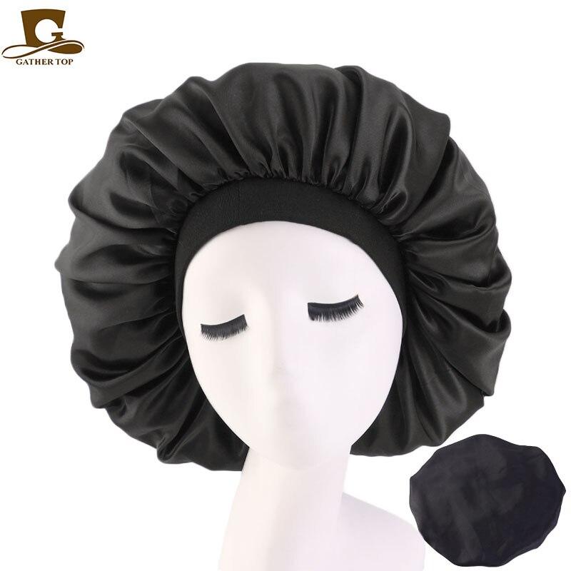 Neue Frauen Große Größe Schönheit druck Satin Seide Motorhaube Schlaf Nacht Kappe Kopf Abdeckung Bonnet Hut für Für Lockiges Springy haar Schwarz