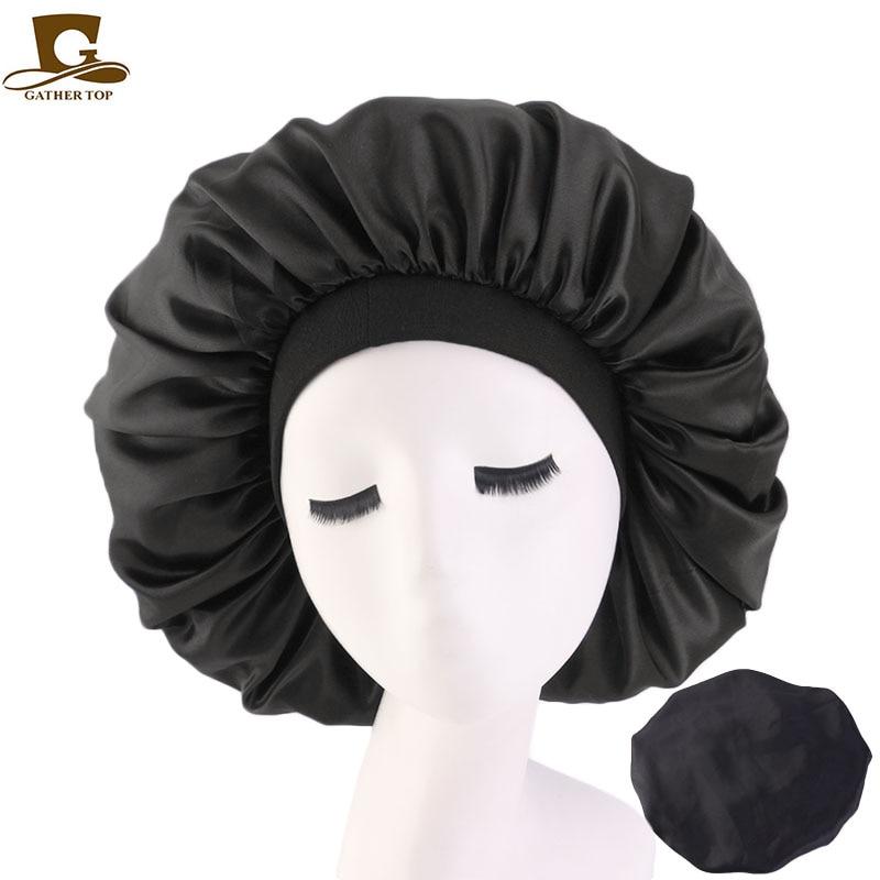 New Women Big Size Beauty Print Satin Silk Bonnet Sleep Night Cap Head Cover Bonnet Hat For For Curly Springy Hair Black