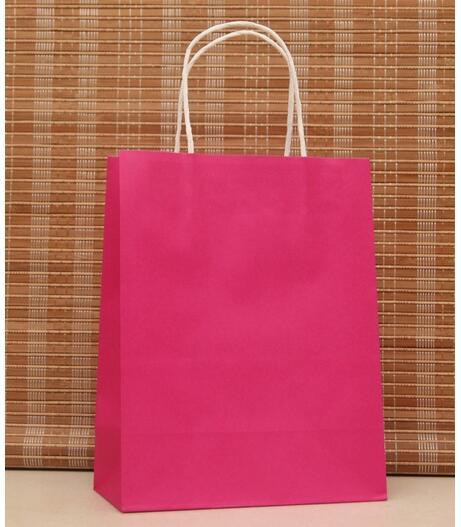 10 Pçs lote saco de pano de saco de papel com punho hotpink cor DIY  Multifunction papel de presente Na Moda sacos de Compras 27x21x11 cm 0c0251a184