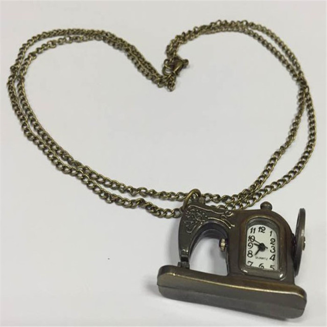 Retro Antique, Bronze Alloy, Classic Sewing Machines Pendant, Pocket Watch