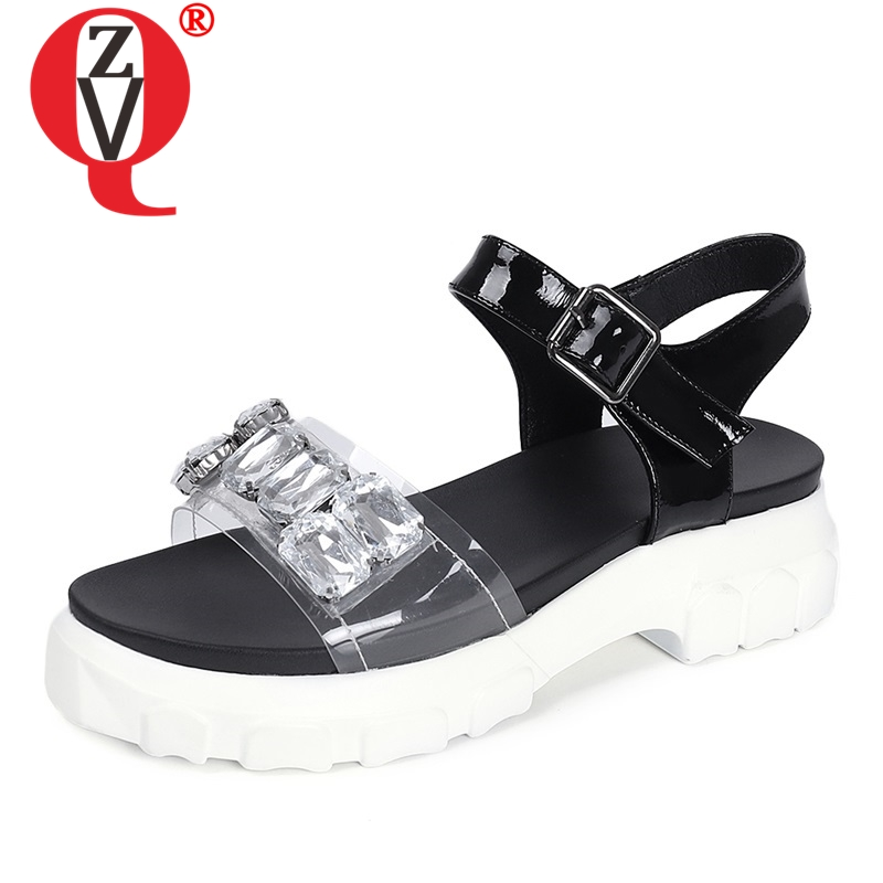 ZVQ shoes woman summer newest concise casual crystal genuine leather woman sandals outside med square heels