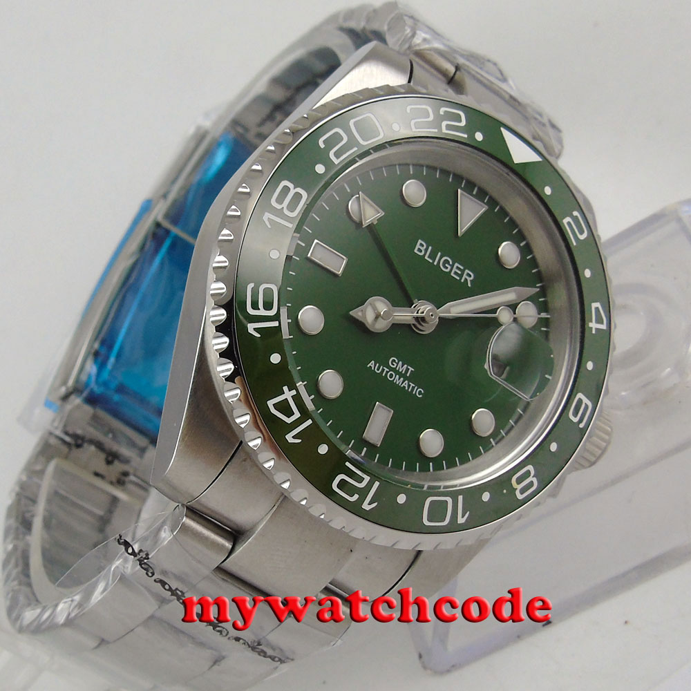 40mm Bliger green dial luminous GMT date sapphire glass automatic mens watch 179 цена и фото