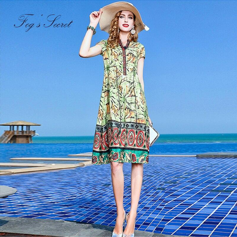 Robes Manches Slim Robe Femme Pour Femmes Yellow Original green Bohême D'été À Marque Design Automne Courtes Imprimer 2018 Les HA87wxzwnq