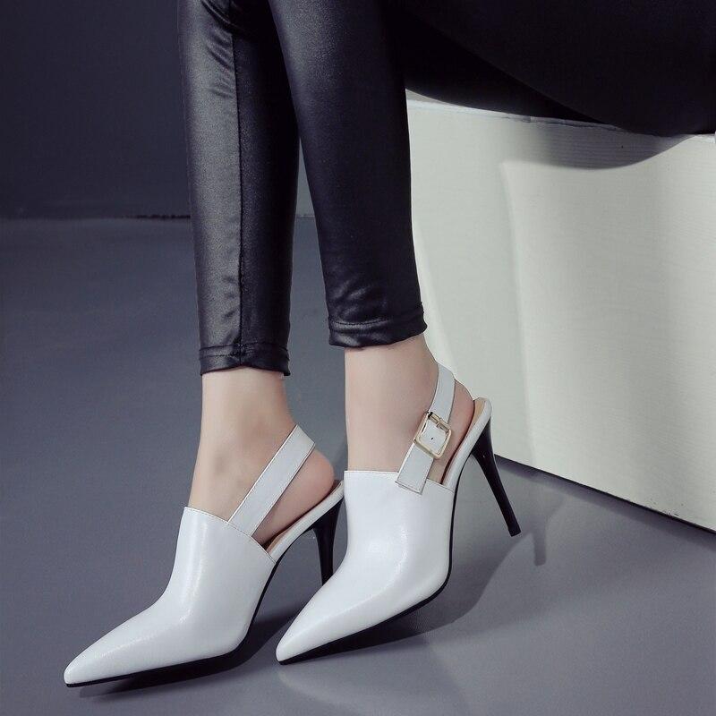 ФОТО Women's Genuine Leather Slingback Pumps Brand Designer Elegant Ladies High Heels Shoes Brand Designer Metal Buckle Footwear Sale