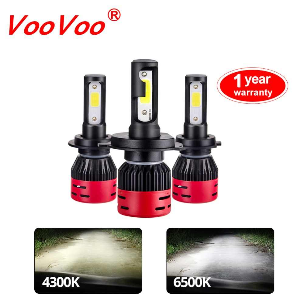 VooVoo Car Headlight H4 LED H7 H8 H11 H9 HB3/9005 HB4/9006 H1 H3 9012 HIR2 72W 8000lm COB 4300K Auto Bulb Headlamp 6500K Light