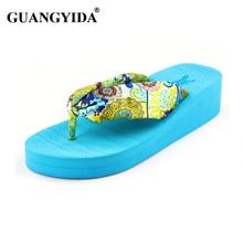 Women Sandals New 2017 Summer bohemia flower Women flip flops Platform Wedges Women Sandals slippers beach shoes size 35~39