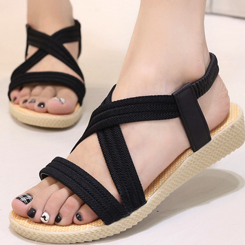 Fashion Gladiator Sandals Women Cross Strap Ladies Shoes Bandage Flat Summer Flip Flops Wedge Sandals Zapatos Mujer Size 35-41 2016 flower women sandals flat flip flops bohemian gladiator sandals women summer style fashion beach slippers zapatos mujer