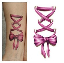 Body Art Beauty Makeup Pink And Blue Bow On Hand Waterproof Temporary Tattoo Stickers Sexy