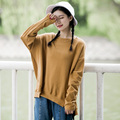 [XITAO] NEW arrival women's regular length loose full batwing sleeve O-neck pullovers solid color casual sweatshirt WYB-001