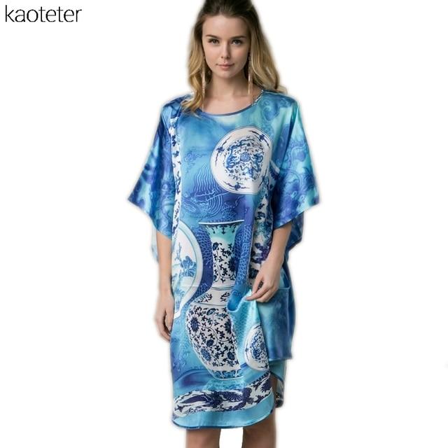 100% Real Silk Women Loose Loungewear Night Skirt Blue Homewear One Piece Plus Size Home Wear Hand Painted Nightgowns YBP184