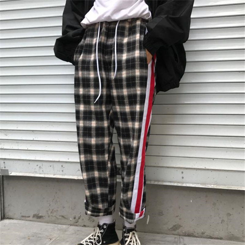 2018 Youth Spring And Autumn New Japanese Fashion Trend Campus Wind Boys Casual Loose Solid Color Cotton Lattice Hip Hop Pants