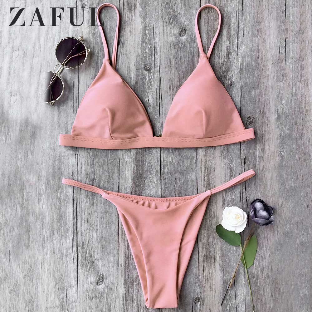 ZAFUL String Bikini Low Waisted Spaghetti Straps Thong Bikini Set Low Waisted Solid Women Push Up Swimsuit Sexy Bathing Suit