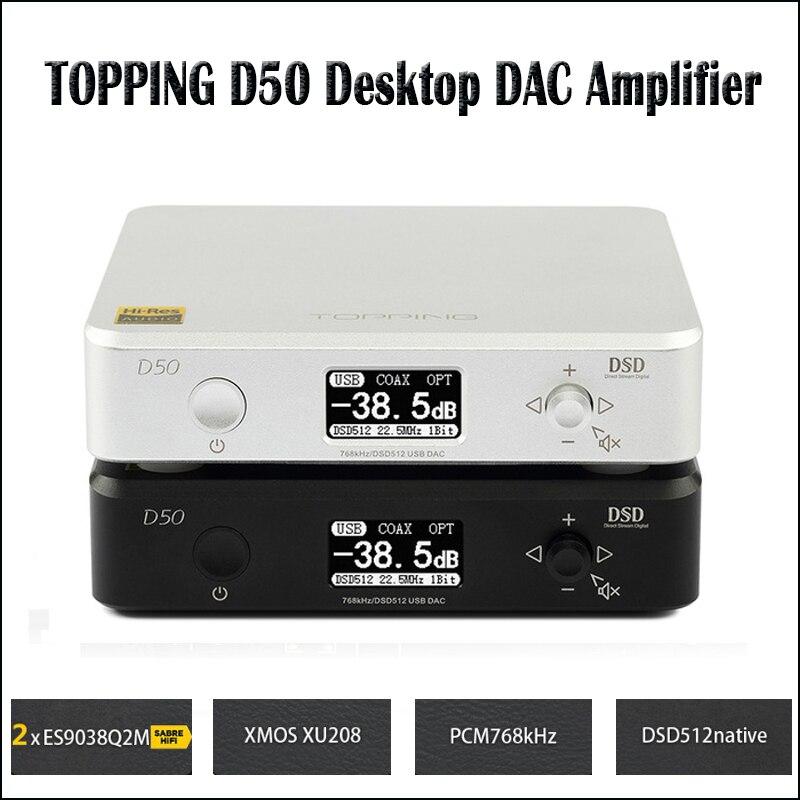 GARNITURE D50 Hifi DAC Audio Amplificateur Décodeur ES9038Q2M XMOS XU208 USB DAC Amp DSD512 Optique Caoxial entrée 32Bit/768 khz