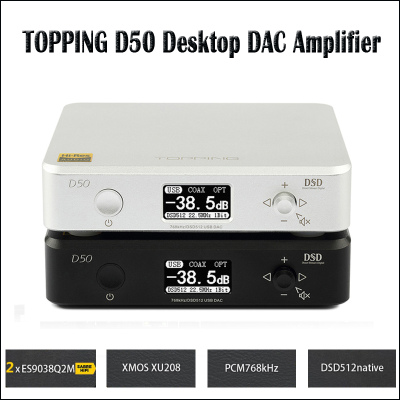 TOPPING D50 Hifi DAC Audio Amplifier Decoder ES9038Q2M XMOS XU208 USB DAC Amp DSD512 Optical Caoxial input 32Bit / 768Khz цена