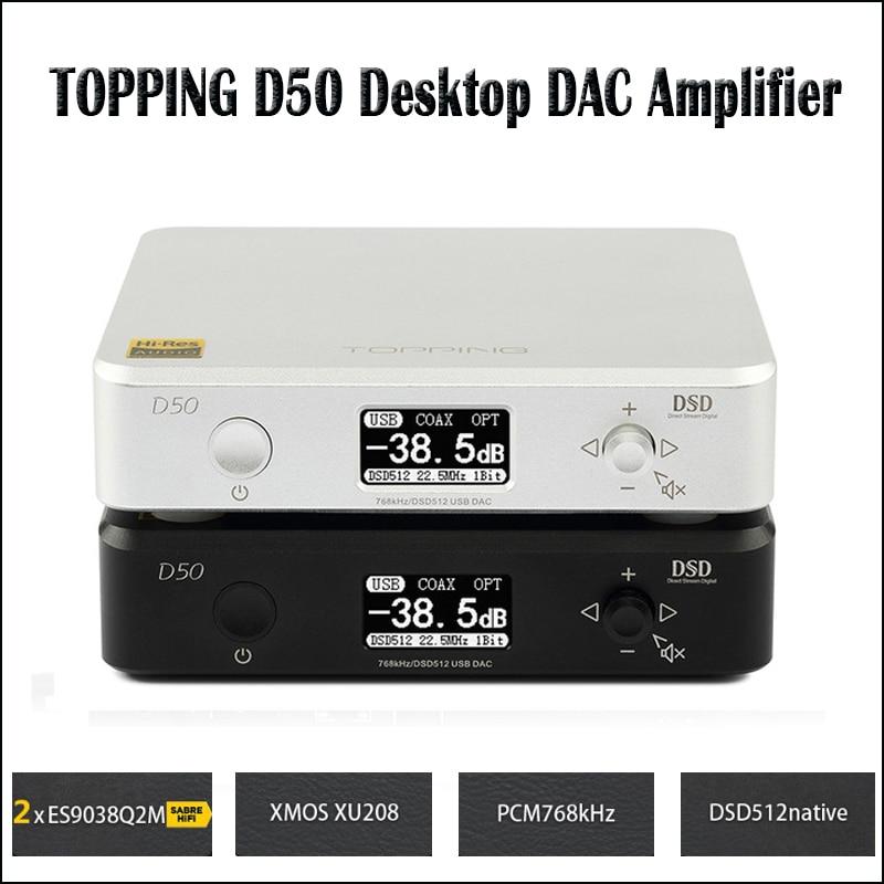 TOPPING D50 Hifi DAC Audio Amplifier Decoder ES9038Q2M XMOS XU208 USB DAC Amp DSD512 Optical Caoxial input 32Bit / 768Khz smsl m6 hifi audio decoder headphone amplifier dac amp 32bit 768khz support dsd512 dac ak4452