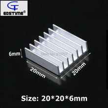 цена 20x20x6mm Aluminum IC LED Cooling Cooler Heat Sink Heatsink Radiator 10pcs Free Freight