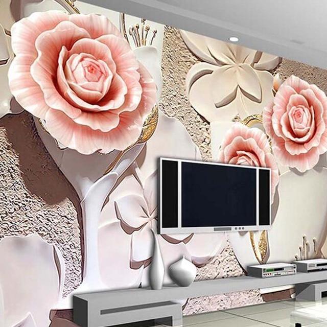 Timbul Kertas Rose Wallpaper Dinding Mural Besar Foto Bunga Tekstil Ruang Tamu