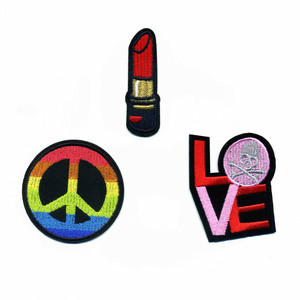 DOUBLEHEE Colors Peace Love Skull Lips Embroidered Iron On Patches New Design Patch Embroidery DIY Garments For Fashion Cloth