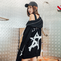 Korean Style Print Harajuku Hoodie Women Hooded Zipper Design Sweatshirt 2019 New Streetwear Fashion Oversized Couple Hoodies