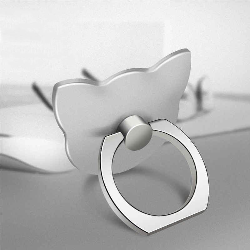 Кольцо-держатель мобильного телефона, подставка, держатель для мобильного телефона для iPhone, huawei, Xiaomi, кольцо-держатель для телефона, автомобильный мобильный телефон, поддержка смартфона - Цвет: Silver cat