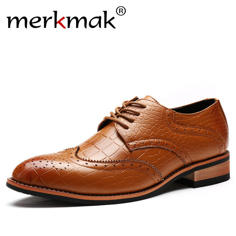 Merkmak/модные туфли в стиле ретро мужские модельные туфли Бизнес Туфли-оксфорды из микрофибры Кружево-до Формальные Элитный бренд человек Обу...
