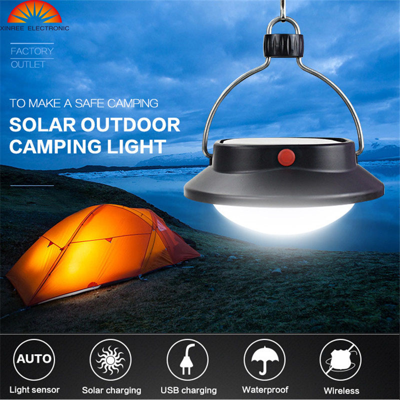 XINREE Solar Light 60LED Outdoor Riding Fishing Tent Emergency Rechargeable Hand Lamp USD Solar Camping Lantern Saolar Lamp IP65
