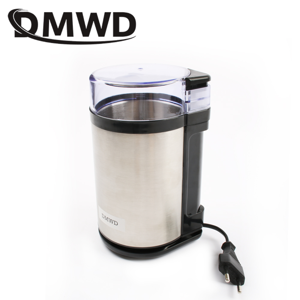 DMWD Electric Stainless Steel Coffee Bean Grinder Household Herbs Spices Nuts Crusher Grains Mills Grinding Machine 220-240V EU jiqi electric coffee bean grinder stainless steel mini beans grinding machine grain mill herbs nuts pulverizer powder crusher eu
