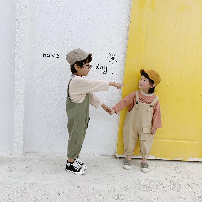 jumpsuit ocasional macacao coreano das criancas para meninas de moda bolso grande calcas meninos da crianca