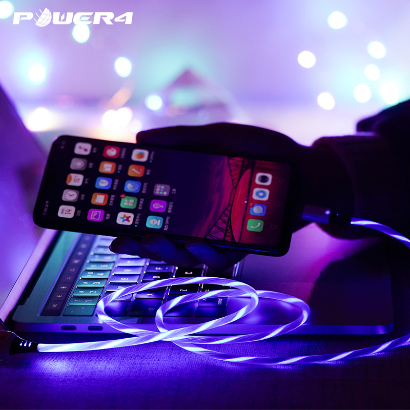 Power4 Glowing USB Cables For Lightning/Micro/USB Type C Wire For iPhone Charging Cable Lighting For Samsung S9 plus/Apple 5 6 7|Mobile Phone Cables|   - AliExpress