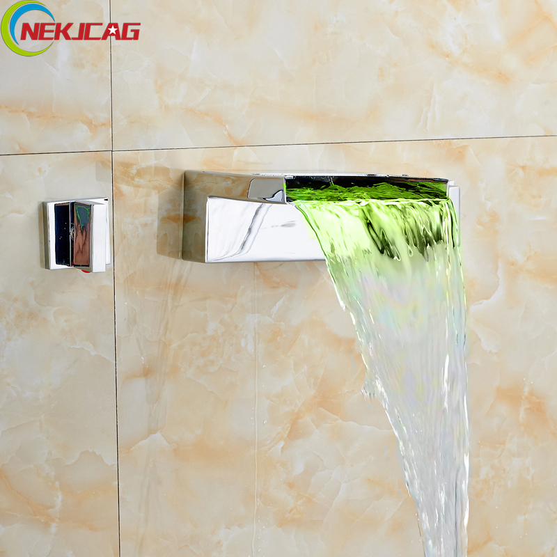 LED Color Changing Waterfall Wall Mount Basin Faucet Taps Dual Handle Chrome Widespread Bathroom Mixer Crane