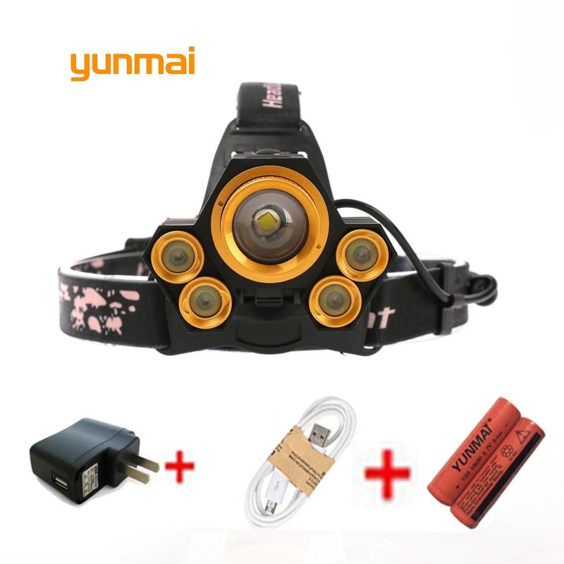 yunmai Strong USB 5 Led CREE Headlamp XM L T6 Q5 Headlight 15000 lumens Waterproof Head Flash Lamp Camp Hike Fishing Light New