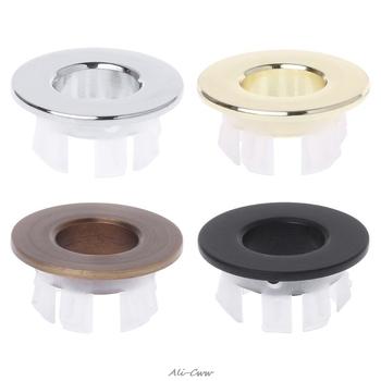 Umywalka łazienkowa pokrywa przelewowa sześciostopniowa okrągła wkładka chromowana zakrętka pierścieniowa tanie i dobre opinie Sink Overflow Cover O1123 Mosiądz Sliver Gold Bronze Black 1 Pc