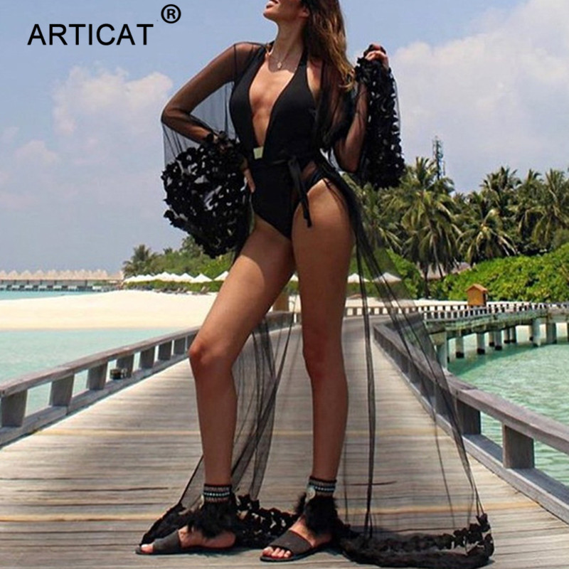Articat Sexy Long Maxi Summer Dress 2018 Flower Patchwork See Through Cardigan Beach Dress Women Casual Loose Mesh Party Desses