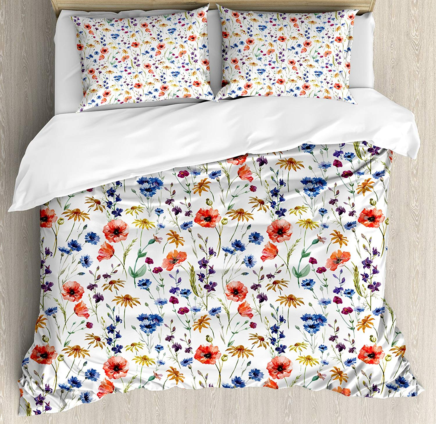 House Decor Duvet Cover Set Queen Size Wildflowers Poppy Chamomile Cornflowers Daisies Countryside Fun Bedding Set