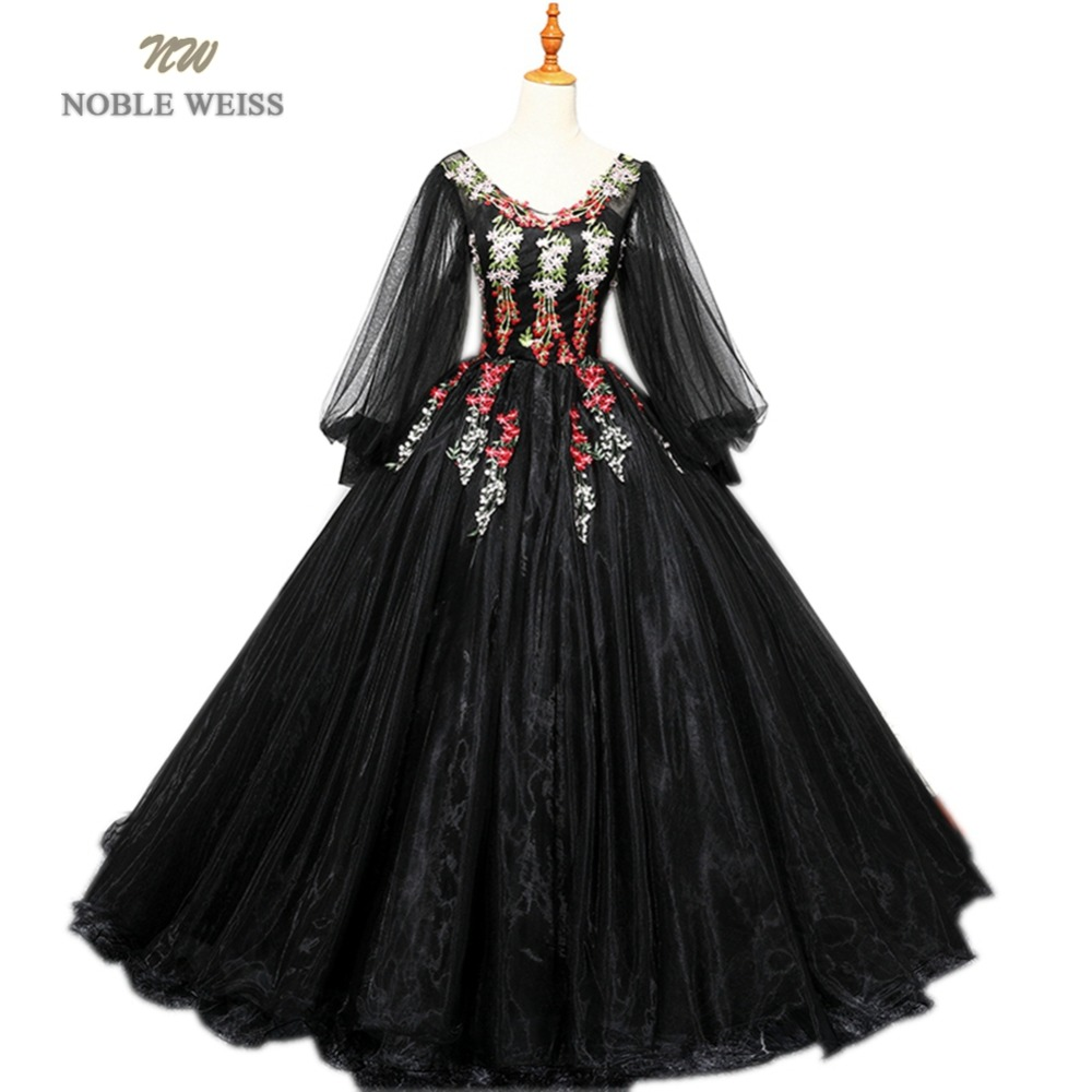 NOBLE WEISS Black Ball Gown Quinceanera Dresses With Appliques Organza V Neck Floor Length Formal Prom