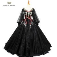 NOBLE WEISS Black Ball Gown Quinceanera Dresses With Appliques Organza V Neck Floor Length Formal Prom Dress With Long Sleeves