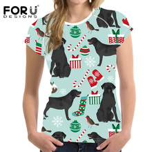 FORUDESIGNS Black Labrador Printing Women Christmas T Shirt Ladies Funny T-shirt for Teenager Cute Puppy Tee Girl Tops